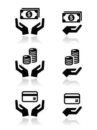 Hands with money vector icons set