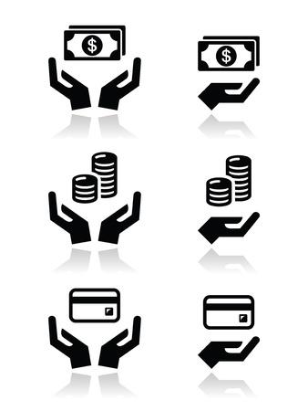 manos abiertas: Manos con dinero Conjunto de vectores iconos