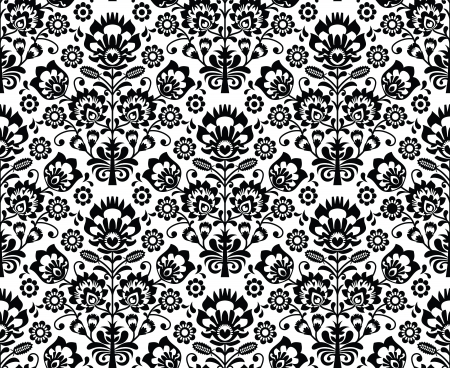 Seamless floral polish pattern in black and white Vector
