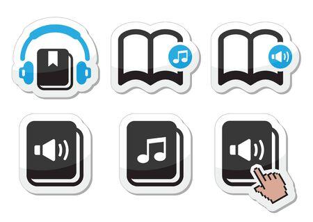 earbud: Iconos vectoriales Audiolibro establecen Vectores