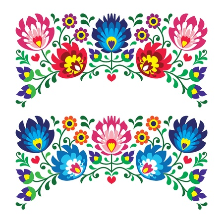 Polskie motywy kwiatowe hafty ludowe za karty