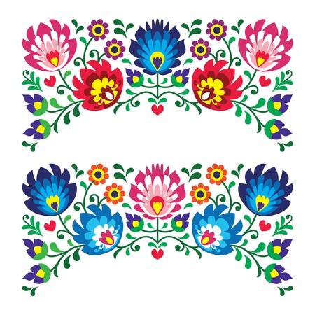Poolse florale folk borduurpatronen voor kaart Stock Illustratie