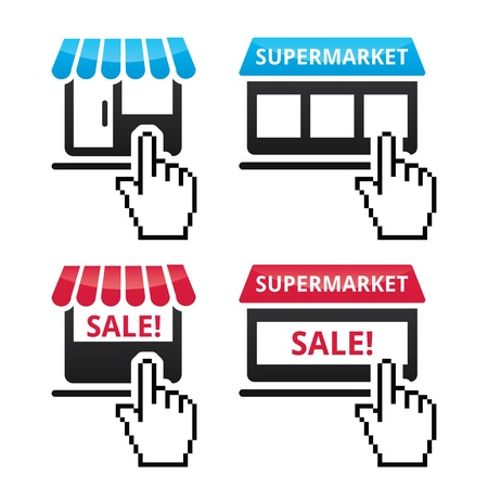 sale icons: Shop, supermarket, sale icons with cursor hand icon