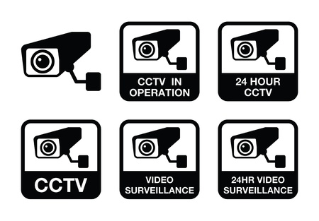 CCTV camera, Video surveillance icons set Vector