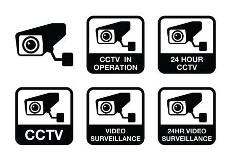 burglary: CCTV camera, Video surveillance icons set Illustration