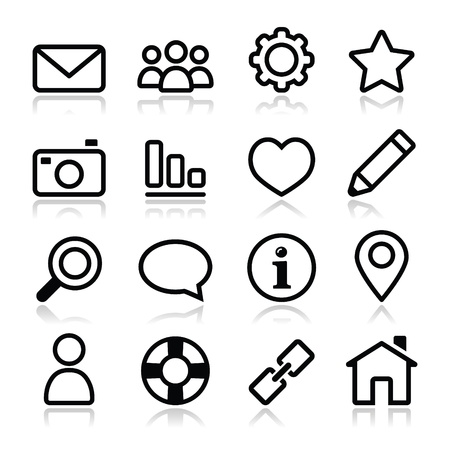 Website menu navigation stroke icons - home, search, email, gallery, help, blog icons Vetores