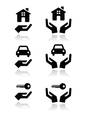 flat roof: Home, car, keys with hands icons set Illustration