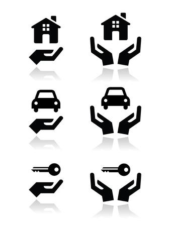 Huis, auto, sleutels met handen pictogrammen instellen
