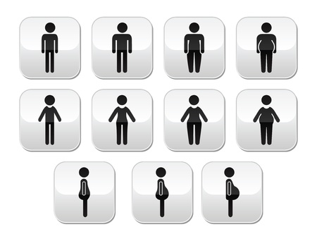 regular people: Man and women body type buttons - slim, fat, obese, thin