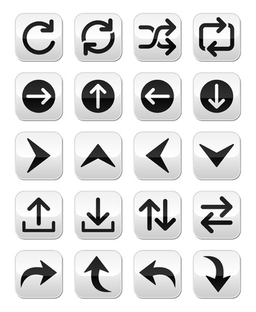 Arrow button sets isolated on white Stock Vector - 20668133