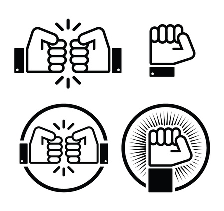 Fist, fist bump icons set Vector