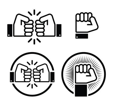 socialism: Fist, fist bump icons set