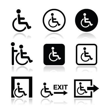 discapacidad: Hombre en silla de ruedas, discapacitados, icono de la salida de emergencia
