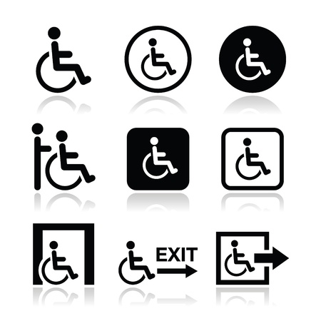 accessibility: Man on wheelchair, disabled, emergency exit icon Illustration