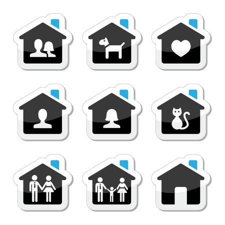 for rental: Home, family icons set  Illustration