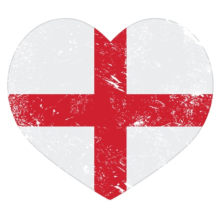 grunge cross: England heart retro flag