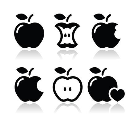 リンゴ、リンゴの芯、かま、半分のアイコン