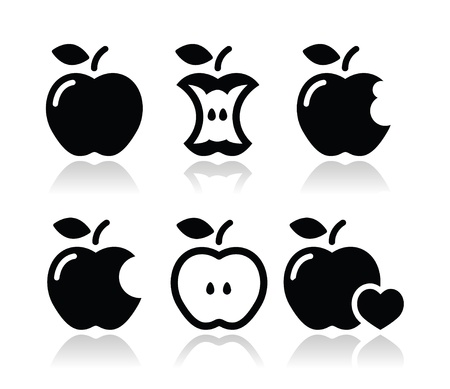 Apple, apple core, bitten, half icons Vector