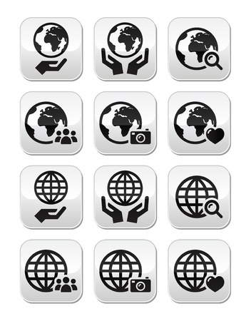 hand globe: Globe earth with hands icons set with reflection