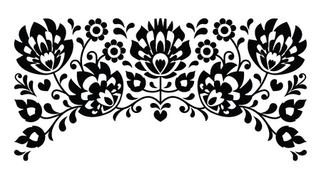 eurpean: Polish floral folk embroidery black and white pattern