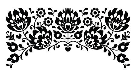 Poolse bloemen volksborduurwerk zwart-wit patroon Stock Illustratie