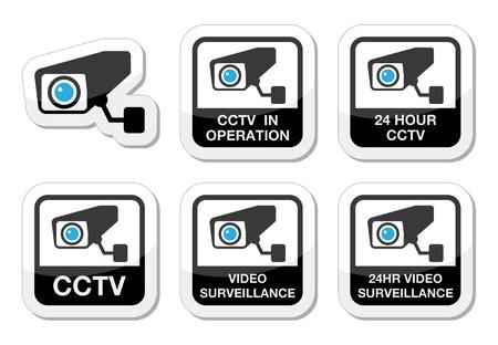 ressalto: Câmera de CCTV, ícones de videovigilância definido Ilustra��o