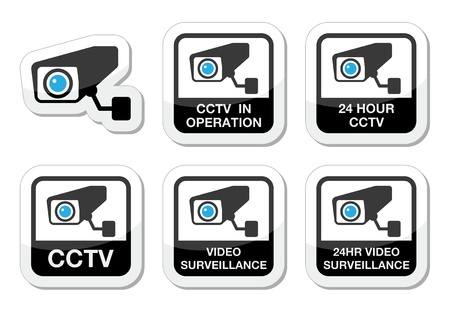 cam: CCTV camera, Video surveillance icons set Illustration