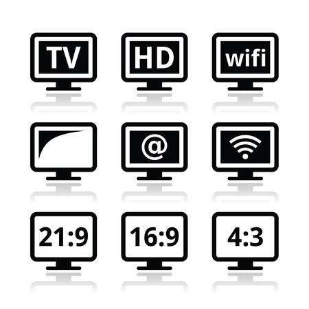 Moniteur TV, icônes écran set Banque d'images - 20882939
