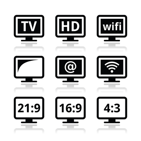 lcd tv: TV monitor, screen icons set Illustration