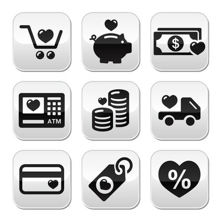 I love shopping, I love money vector buttons set Çizim