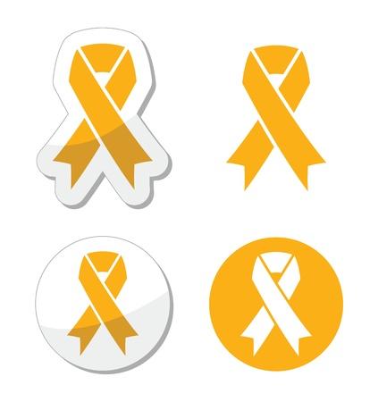 sign  childhood: Gold ribbon - childhood cancer symbol