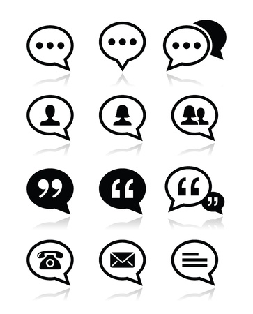 Speech bubble, blog, contact vector icons set Stock Vector - 20882942