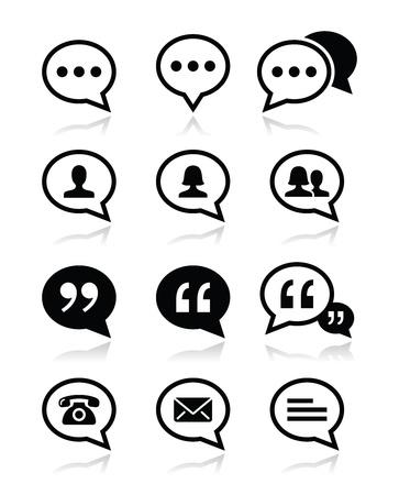 Speech bubble, blog, contact vector icons set Stock Vector - 20882942