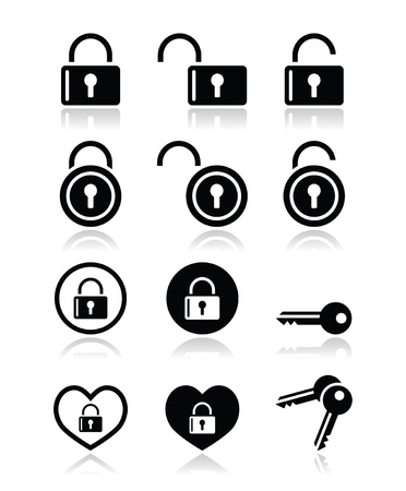 prison system: Padlock, key vector icons set