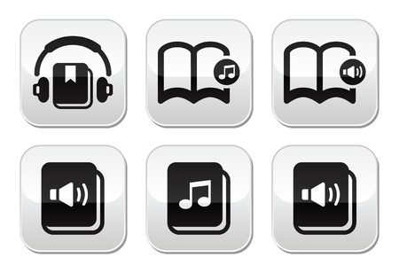 Audiobook vector buttons set Vector
