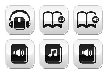 scribe: Audiobook vector buttons set