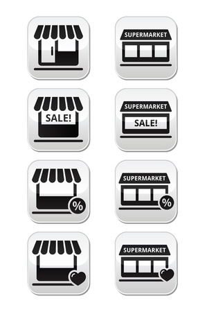 Single shop or store, supermarket vector buttons set Vector