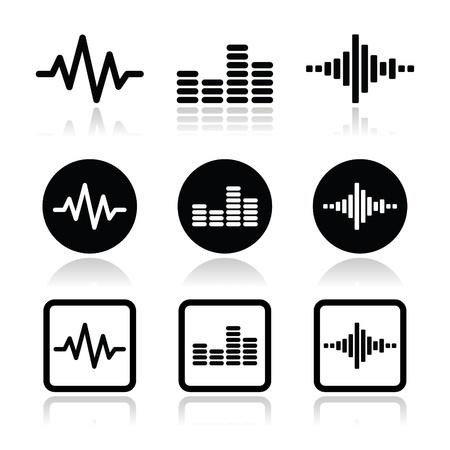 サウンドウェイヴ音楽ベクトル アイコンを設定  イラスト・ベクター素材