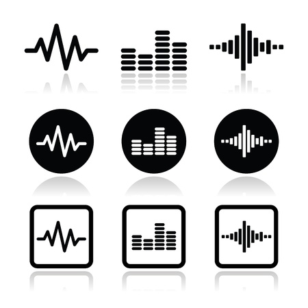 audio electronics: soundwave music vector icons set Illustration