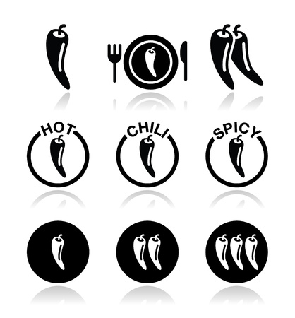 Chili peppers, hot and spicy food icons set Ilustrace