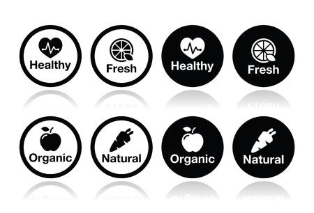 productos naturales: Los alimentos org�nicos, frescos y productos iconos naturales establecidos Vectores