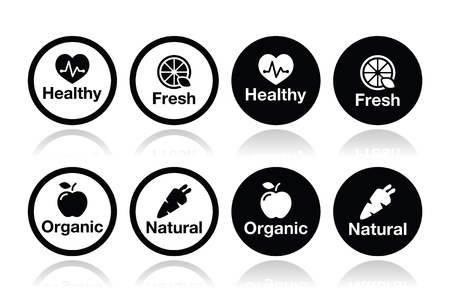 Organic food, fresh and natural products icons set Vector