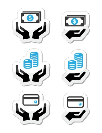 bard: Hands with money, coins vector icons set