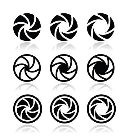 Camera shutter aperture vector icons set Stock Vector - 21036324