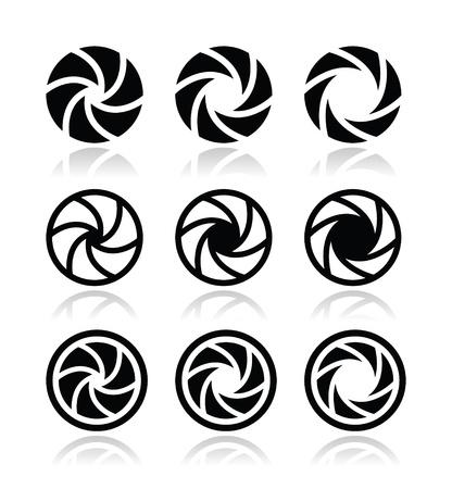 lomo: Camera shutter aperture vector icons set  Illustration