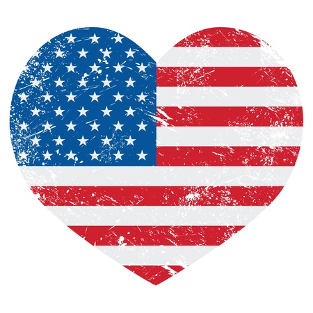 us grunge flag: United States on America retro heart flag - vector