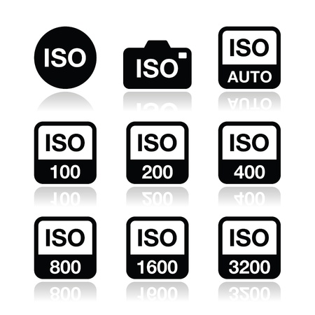 standard: ISO - camera film speed standard icons set