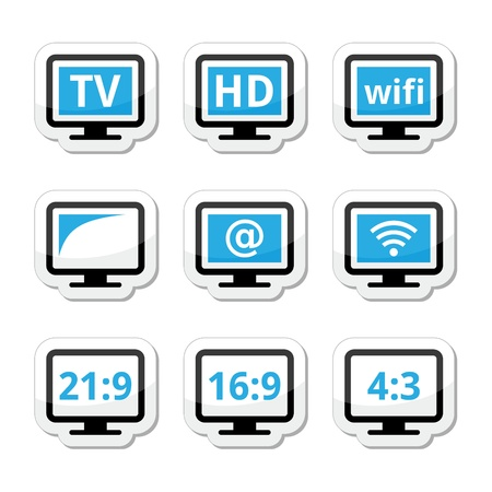 16 9: TV monitor, screen icons set Illustration