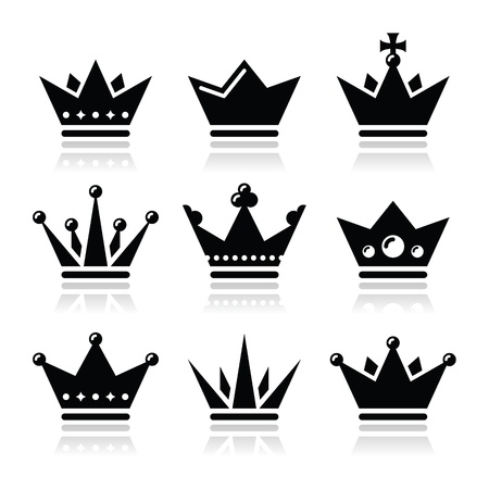 crown king: Crown, royal family icons set Illustration