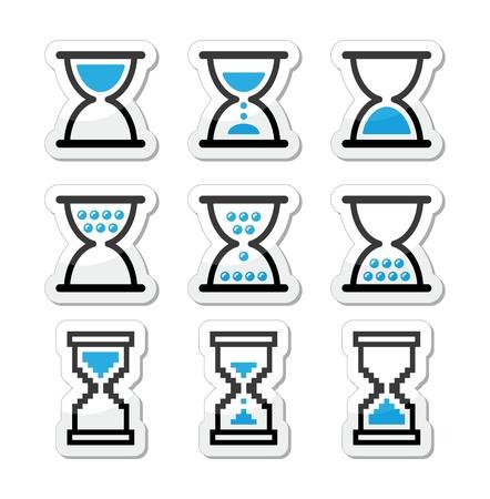 piasek: Klepsydra, klepsydra zestaw ikon Ilustracja